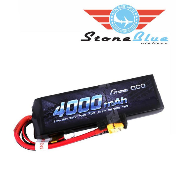 Gens ace 4000mAh 7.4V 50C 2S1P Lipo Battery Pack with XT60 plug