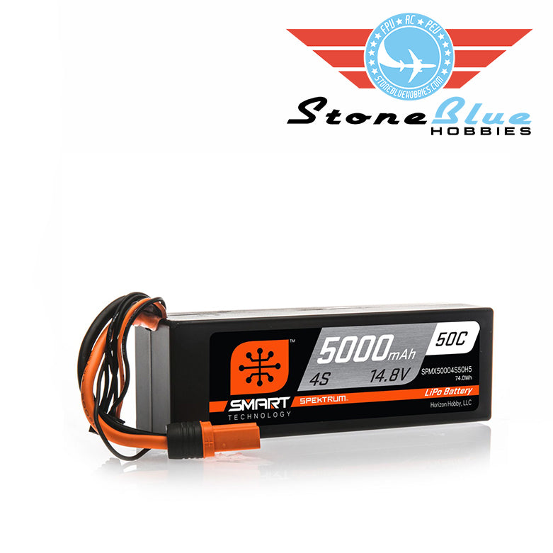 Spektrum 14.8V 5000mAh 4S 50C Smart Hardcase LiPo Battery: IC5