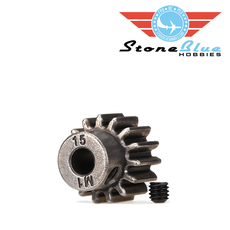 Traxxas Gear, 15-T pinion (1.0 metric pitch) (fits 5mm shaft)/ set screw (for use only with steel spur gears) 6487X