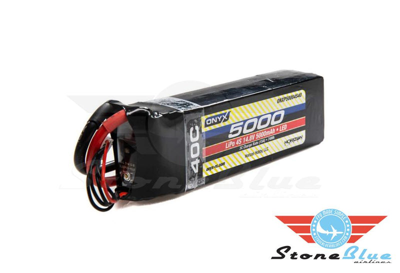 Onyx 14.8V 5000mAh 4S 40C LiPo Battery, EC5 with LED