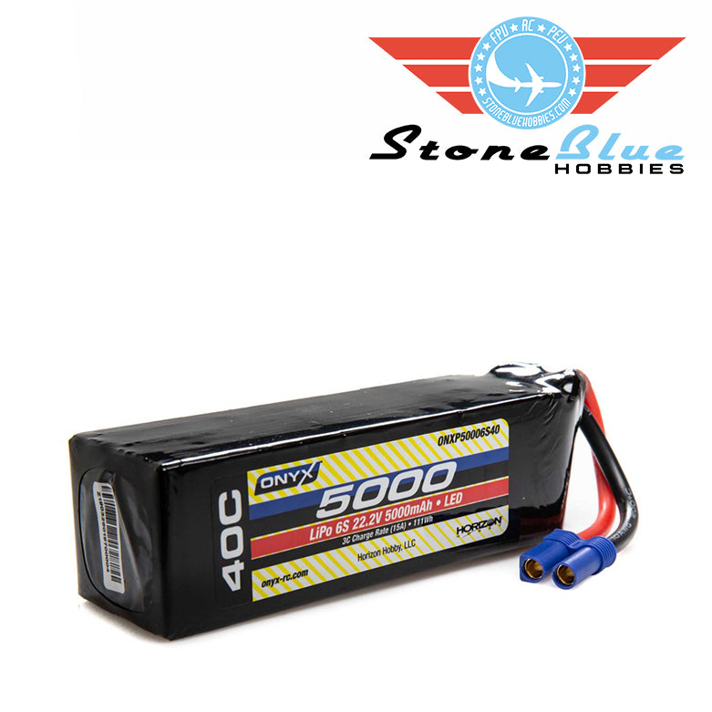 ONYX 22.2V 5000mAh 6S 40C LiPo Battery, EC5 with LED