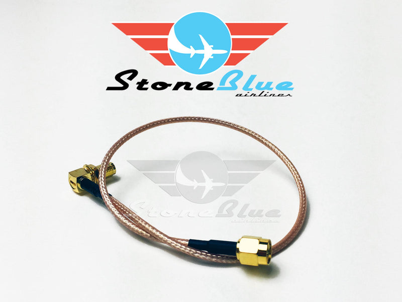 "12"" Right Angle SMA Male to SMA Female Extension Cable (1pc)"