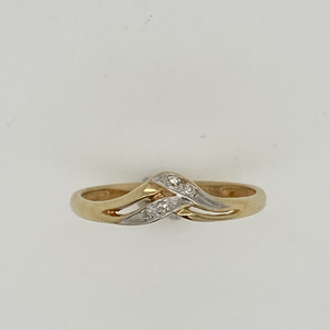 Woven Gold and Diamond Ring