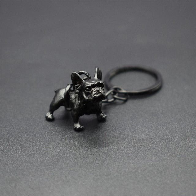 Vintage Retro Metal French Bulldog Keychain