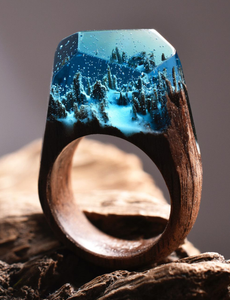 Snowy Mountains | Wood Resin Rings | Nature Inspired Handcrafted Men & Women Rings - WorstNights