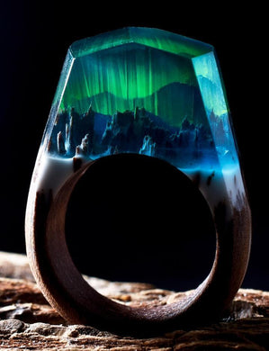 Northern Lights | Wood Resin Rings | Nature Inspired Handcrafted Men & Women Rings - WorstNights