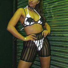 Load image into Gallery viewer, Black Striped See-Through Mesh High Waist Shorts - WorstNights