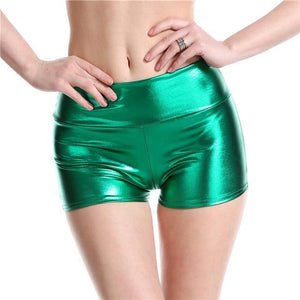 Metallic Mid Waist Shorts - WorstNights