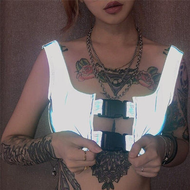 Buckle Reflective Hollow Crop Top - WorstNights