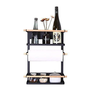 Kitchen Rack - Magnetic Fridge Organizer - 18x12.7x5 INCH - Paper Towel Holder, Rustproof Spice Jars Rack, Heavy-duty Refrigerator Shelf Storage Including 6 Removable Hooks (BLACK) - 2019 New Design - Productive Organizing