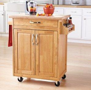 Mainstays Kitchen Island Cart, Natural. This Stylish Kitchen Furniture Has a Solid Wood Top. Kitchen Island SALE!! Drawer and Cupboard Provide All Your Kitchen Storage Needs. Sturdy Wheels For Moving Around. Towel Bar and Spice Rack. - Productive Organizing