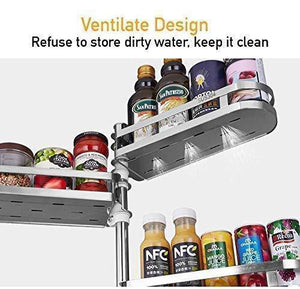 Best SuperFitMe Rotating Double Layers Spice Rack with Hook (Type 304 Stainless Steel)