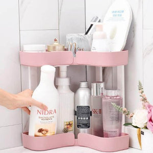 Best FEOOWV 2 Tier Kitchen Countertop Corner Storage Rack, Bathroom Corner Shelf,Space Saving Organizer for Spice Jars Bottle Holder (StyleC-Pink)