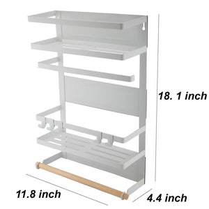 Explore kitchen rack magnetic fridge organizer 18 1x11 8x4 4 inch paper towel holder rustproof spice jars rack plastic wrap holder refrigerator shelf storage including 5 removable hook 201 white