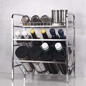 Spice Rack Organizer, Fresh Household 3 Tier Spice Jars Bottle Stand Holder Stainless Steel Kitchen Organizer Storage Kitchen Shelves Rack - Silver - Productive Organizing