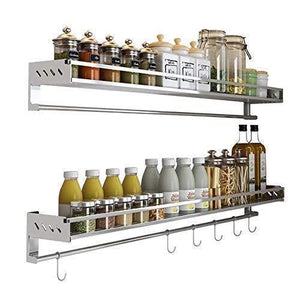 SuperFitMe Hanging Spice Rack with Hook (Type 304 Stainless Steel) - Productive Organizing