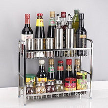 Load image into Gallery viewer, Best Spice Rack Organizer, Fresh Household 2 Tier Spice Jars Bottle Stand Holder Stainless Steel Kitchen Organizer Storage Kitchen Shelves Rack - Silver