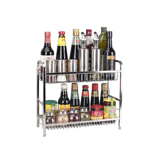 Best Spice Rack Organizer, Fresh Household 2 Tier Spice Jars Bottle Stand Holder Stainless Steel Kitchen Organizer Storage Kitchen Shelves Rack - Silver