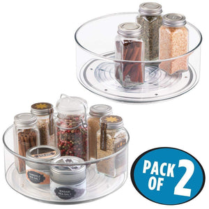 "Best mDesign Plastic Lazy Susan Spinning Food Storage Turntable for Cabinet, Pantry, Refrigerator, Countertop - Spinning Organizer for Spices, Condiments, Baking Supplies - 9"" Round, 2 Pack - Clear"