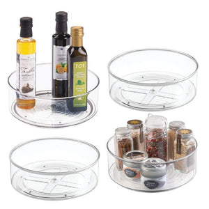 "Best mDesign Plastic Lazy Susan Spinning Food Storage Turntable for Cabinet, Pantry, Refrigerator, Countertop - Spinning Organizer for Spices, Condiments, Baking Supplies - 9"" Round, 4 Pack - Clear"