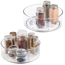 "Load image into Gallery viewer, mDesign Plastic Lazy Susan Spinning Food Storage Turntable for Cabinet, Pantry, Refrigerator, Countertop - Spinning Organizer for Spices, Condiments, Baking Supplies - 9"" Round, 2 Pack - Clear - Productive Organizing"