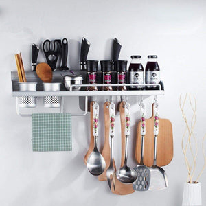 Shop wall pot rack wall hanging shelf 20 inch kitchen cookware organizer with pot hook knife holder 2 utensil cup spice rack towel rack for rv hotel restaurant bar aluminum by focipow