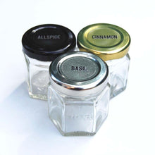 Load image into Gallery viewer, Gneiss Spice Large Empty Magnetic Spice Jars | Create a DIY Hanging Spice Rack on Your Fridge | Includes Hexagon Glass Jars, Magnetic Lids + Spice Labels (24 Large Jars, Silver Lids) - Productive Organizing