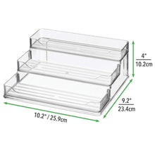 Load image into Gallery viewer, Best mDesign Plastic Spice and Food Kitchen Cabinet Pantry Shelf Organizer - 3 Tier Storage - Modern Compact Caddy Rack - Holds Spices/Herb Bottles, Jars - for Shelves, Cupboards, Refrigerator - Clear