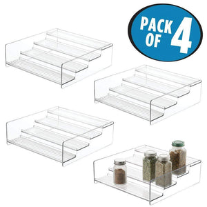 mDesign Plastic Kitchen Spice Bottle Rack Holder, Food Storage Organizer for Cabinet, Cupboard, Pantry, Shelf - Holds Spices, Mason Jars, Baking Supplies, Canned Food, 4 Levels, 4 Pack - Clear - Productive Organizing