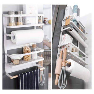 Exclusive kitchen rack magnetic fridge organizer 18 1x11 8x4 4 inch paper towel holder rustproof spice jars rack plastic wrap holder refrigerator shelf storage including 5 removable hook 201 white
