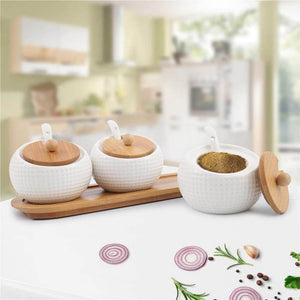 Porcelain Condiment Jar Spice Container with Lids - Bamboo Cap Holder Spot, Ceramic Serving Spoon, Wooden Tray - Best Pottery Cruet Pot for Your Home, Kitchen, Counter. White,170 ML (5.8 OZ), Set of 3 - Productive Organizing