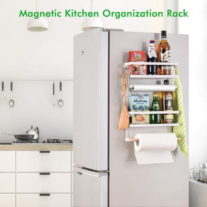 Best Refrigerator Organizer Rack Magnetic Kitchen Magnetic Holder With Hook Strong Power magnet For Paper Towel Holder Rustproof Spice Jars Rack Refrigerator Shelf Storage Hanger Oganizer Tool 19 X13X5.3IN