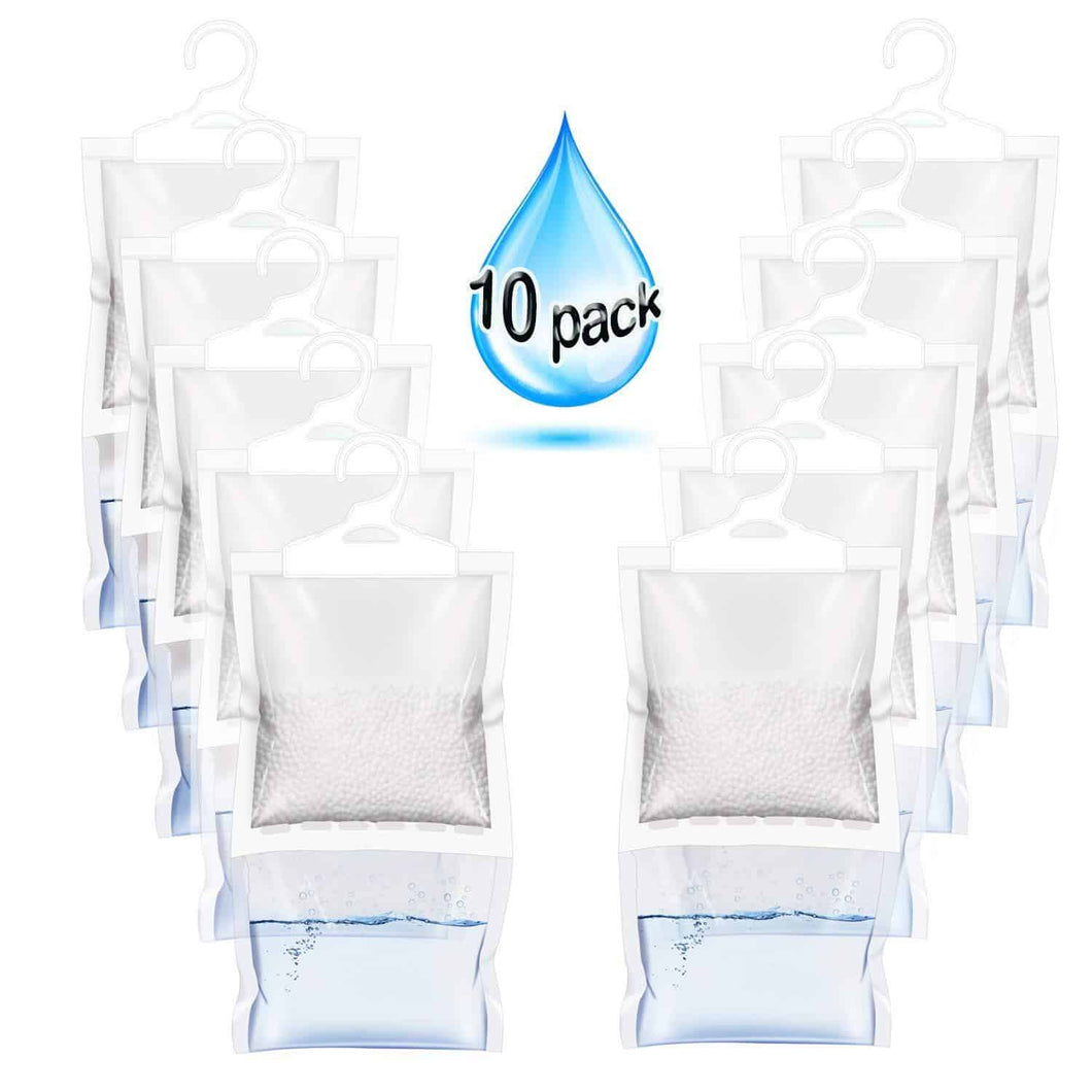 Best ZMFH 10 Pack Moisture Absorber Hanging Bags, No Scent Max Odor Eliminator, 220g Dehumidification Bags for Closets, Bathrooms, Laundry Rooms, Pantries, Storage