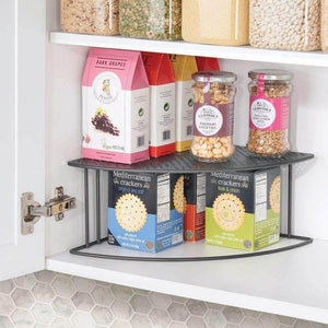 mDesign Rustic Metal Corner Shelf - 2 Tier Storage Organizer for Kitchen Cabinet, Pantry, Shelf, Counter - Holds Dishes, Baking Supplies, Canned Goods, Spices - Rounded Design, 2 Pack - Graphite Gray - Productive Organizing