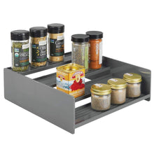 Load image into Gallery viewer, Best mDesign Plastic Kitchen Spice Bottle Rack Holder, Food Storage Organizer for Cabinet, Cupboard, Pantry, Shelf - Holds Spices, Mason Jars, Baking Supplies, Canned Food, 4 Levels, 2 Pack - Charcoal Gray