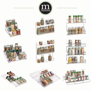 "Best mDesign Adjustable, Expandable Kitchen Wire Metal Storage Cabinet, Cupboard, Food Pantry, Shelf Organizer Spice Bottle Rack Holder - 3 Level Storage - Up to 25"" Wide, 2 Pack - Silver"