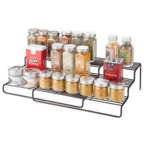 "Best mDesign Adjustable, Expandable Kitchen Wire Metal Storage Cabinet, Cupboard, Food Pantry, Shelf Organizer Spice Bottle Rack Holder - 3 Level Storage - Up to 19.5"" Wide - Bronze"