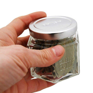 Gneiss Spice Large Empty Magnetic Spice Jars | Create a DIY Hanging Spice Rack on Your Fridge | Includes Hexagon Glass Jars, Magnetic Lids + Spice Labels (24 Large Jars, Silver Lids) - Productive Organizing