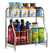 Load image into Gallery viewer, Junyuan Kitchen Spice Racks, 2-Tier Bathroom Shelf Kitchen Countertop Storage Organizer Jars Bottle Seasoning Rack Shelf Holder- Space Saving, High Capacity, Mesh Wire-Stainless Steel - Productive Organizing