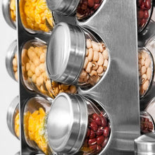 Load image into Gallery viewer, Best Spice Rack Revolving Stainless Steel Seasoning Storage Organizer Spice Carousel Tower for Kitchen Set of 16 Jars