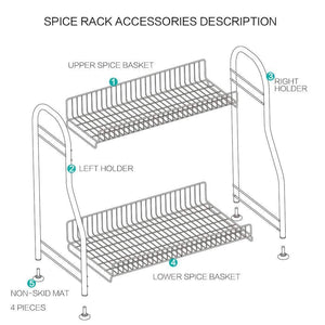 Junyuan Kitchen Spice Racks, 2-Tier Bathroom Shelf Kitchen Countertop Storage Organizer Jars Bottle Seasoning Rack Shelf Holder- Space Saving, High Capacity, Mesh Wire-Stainless Steel - Productive Organizing