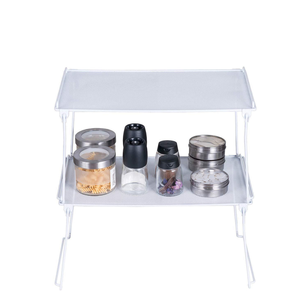 Best 2 Pack- Stackable Kitchen Cabinet and Counter Shelf Organizer, Spice Jars Bottle Standing Shelf Holder Rack, Wire Metal Cupboard, Food Pantry Shelf Organizer, White