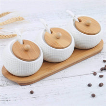 Load image into Gallery viewer, Porcelain Condiment Jar Spice Container with Lids - Bamboo Cap Holder Spot, Ceramic Serving Spoon, Wooden Tray - Best Pottery Cruet Pot for Your Home, Kitchen, Counter. White,170 ML (5.8 OZ), Set of 3 - Productive Organizing