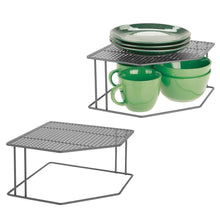 Load image into Gallery viewer, mDesign Rustic Decorative Metal Corner Shelf - 2 Tier Raised Storage Organizer for Kitchen Cabinet, Pantry, Shelf, Counter - Holds Dishes, Baking Supplies, Canned Goods, Spices, 2 Pack - Graphite Gray - Productive Organizing