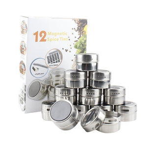 Best 12 Stainless Steel Magnetic Spice Tin & 2 Types of Spice Labels by Neverless, with 96 PVC & 54 Chalkboard Stickers. Refrigerator Magnet