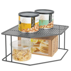 mDesign Rustic Decorative Metal Corner Shelf - 2 Tier Raised Storage Organizer for Kitchen Cabinet, Pantry, Shelf, Counter - Holds Dishes, Baking Supplies, Canned Goods, Spices, 2 Pack - Graphite Gray - Productive Organizing