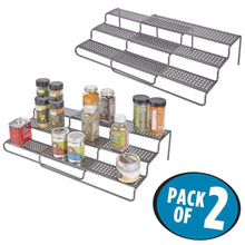 "Load image into Gallery viewer, Best mDesign Adjustable, Expandable Kitchen Wire Metal Storage Cabinet, Cupboard, Food Pantry, Shelf Organizer Spice Bottle Rack Holder - 3 Level Storage - Up to 25"" Wide, 2 Pack - Graphite Gray"