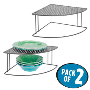 Best mDesign Rustic Metal Corner Shelf - 2 Tier Storage Organizer for Kitchen Cabinet, Pantry, Shelf, Counter - Holds Dishes, Baking Supplies, Canned Goods, Spices - Rounded Design, 2 Pack - Graphite Gray