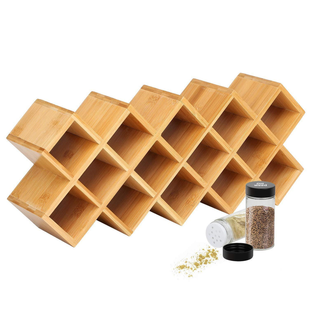 Best Criss-Cross 18-Jar Bamboo Countertop Spice Rack Organizer, Kitchen Cabinet Cupboard Wall Mount Door Spice Storage, Fit for Round and Square Spice Bottles, Free Standing for Counter, Cabinet or Drawers
