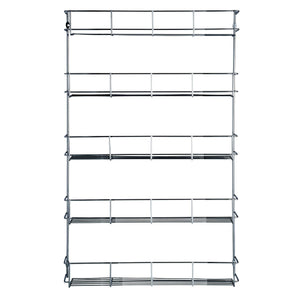 Best VonShef 5 Tier Spice Rack Chrome Plated (Easy Fix) for Herbs and Spices Suitable for Wall Mount or Inside Cupboard